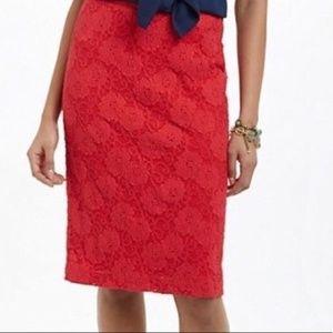 Anthropologie Maeve Red Alva Pencil Skirt